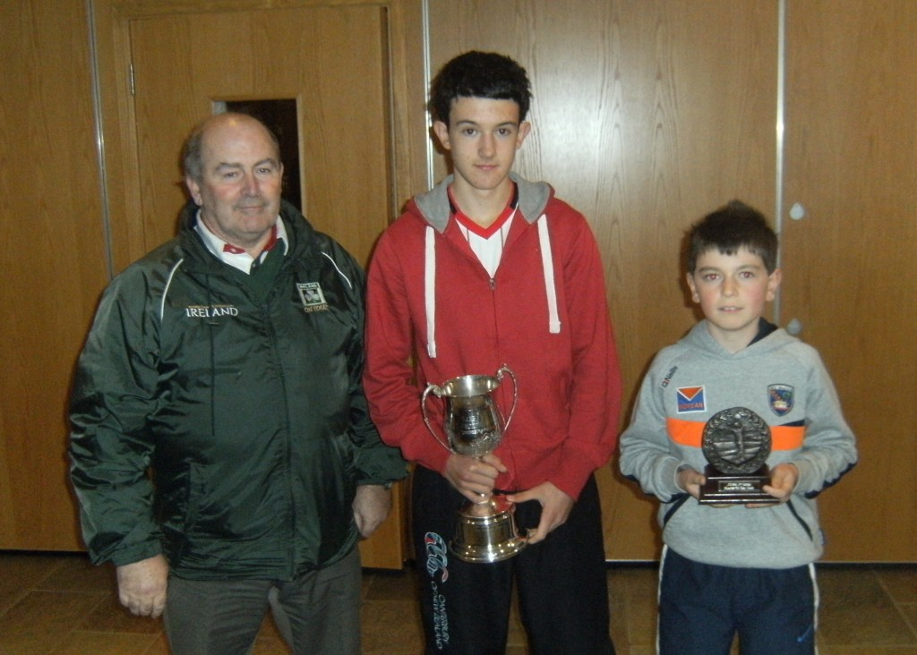Seamus Mc Nulty pictured with Juvenile Golfer of the year Sean óg McShane Junior Juvenile Golfer of the Year Eoin Reel